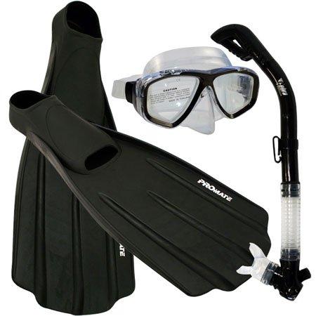 シュノーケリング マリンスポーツ 【送料無料】Promate Snorkeling Full Foot Fins Mask Dry Snorkel Gear Set, Black, 9-11 Mens, 10-12 WMNSシュノーケリング マリンスポーツ