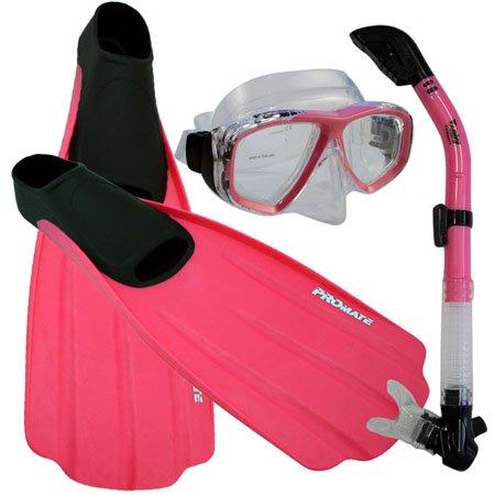シュノーケリング マリンスポーツ 【送料無料】Promate Snorkeling Full Foot Fins Mask Dry Snorkel Gear Set, Pink, 7-9 Mens, 8-10 WMNSシュノーケリング マリンスポーツ