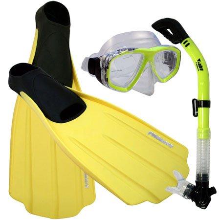 シュノーケリング マリンスポーツ 【送料無料】Promate Snorkeling Full Foot Fins Mask Dry Snorkel Gear Set, Yellow, 3-5 Mens, 4-6 WMNSシュノーケリング マリンスポーツ