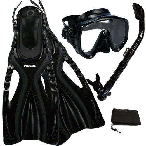 シュノーケリング マリンスポーツ Promate Scuba Diving Snorkeling Extra-Wide Mask Snorkel Fins Gear Set, AllBlack, S/Mシュノーケリング マリンスポーツ