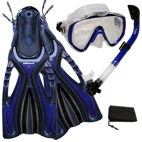 シュノーケリング マリンスポーツ Promate Scuba Diving Snorkeling Extra-Wide Mask Snorkel Fins Gear Set, Blue, ML/XLシュノーケリング マリンスポーツ
