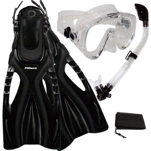 シュノーケリング マリンスポーツ Promate Scuba Diving Snorkeling Extra-Wide Mask Snorkel Fins Gear Set, ClrwBk, S/Mシュノーケリング マリンスポーツ