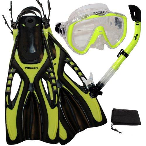 シュノーケリング マリンスポーツ Promate Scuba Diving Snorkeling Extra-Wide Mask Snorkel Fins Gear Set, Yellow, S/Mシュノーケリング マリンスポーツ