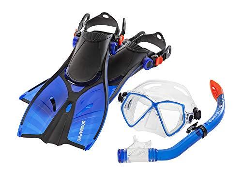 シュノーケリング マリンスポーツ ScubaPro Mini Vu Mask Snorkel and Fins Combo (Small / Medium, Blue)シュノーケリング マリンスポーツ