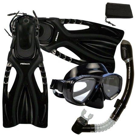 シュノーケリング マリンスポーツ 【送料無料】PROMATE Snorkeling Scuba Diving Mask Snorkel Fins Gear Set w/ Mesh Bag, Bk/Bk, ML/XL(9-13)シュノーケリング マリンスポーツ