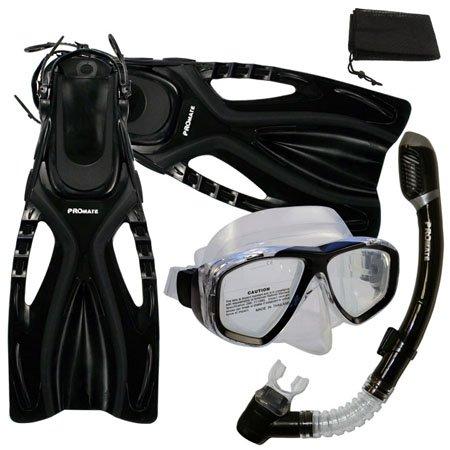 シュノーケリング マリンスポーツ PROMATE Snorkeling Scuba Diving Mask Snorkel Fins Gear Set w/ Mesh Bag, Black, ML/XL(9-13)シュノーケリング マリンスポーツ