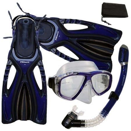 シュノーケリング マリンスポーツ 【送料無料】PROMATE Snorkeling Scuba Diving Mask Snorkel Fins Gear Set w/ Mesh Bag, Bu, ML/XL(9-13)シュノーケリング マリンスポーツ