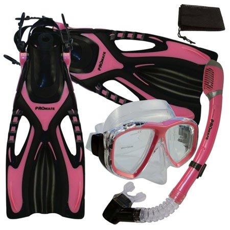 シュノーケリング マリンスポーツ 【送料無料】PROMATE Snorkeling Scuba Diving Mask Snorkel Fins Gear Set w/ Mesh Bag, Pink, ML/XL(9-13)シュノーケリング マリンスポーツ