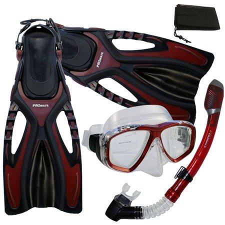 シュノーケリング マリンスポーツ PROMATE Snorkeling Scuba Diving Mask Snorkel Fins Gear Set w/ Mesh Bag, Red, S/M(5-8)シュノーケリング マリンスポーツ