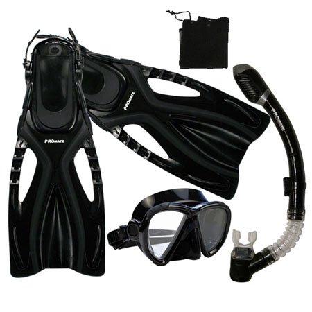 シュノーケリング マリンスポーツ 【送料無料】Promate Snorkeling Scuba Diving Snorkel Mask Fins Gear Set, Black, S/Mシュノーケリング マリンスポーツ