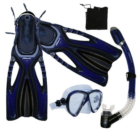 シュノーケリング マリンスポーツ Snorkeling Scuba Diving Snorkel Mask Fins Gear Set, Blue, S/Mシュノーケリング マリンスポーツ