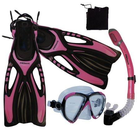 シュノーケリング マリンスポーツ Snorkeling Scuba Diving Snorkel Mask Fins Gear Set, Pink, ML/XLシュノーケリング マリンスポーツ