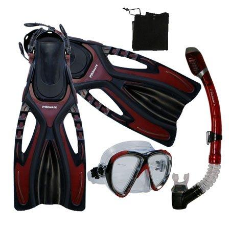 シュノーケリング マリンスポーツ Snorkeling Scuba Diving Snorkel Mask Fins Gear Set, Red, S/Mシュノーケリング マリンスポーツ