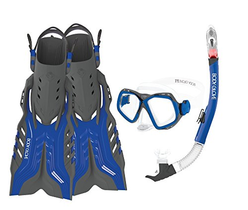 シュノーケリング マリンスポーツ 17039PSET-L/XL-BLUGRY Body Glove Aquatic Fiji Mask Snorkel and Fins Set, Large/X-Large, Blue/Greyシュノーケリング マリンスポーツ 17039PSET-L/XL-BLUGRY