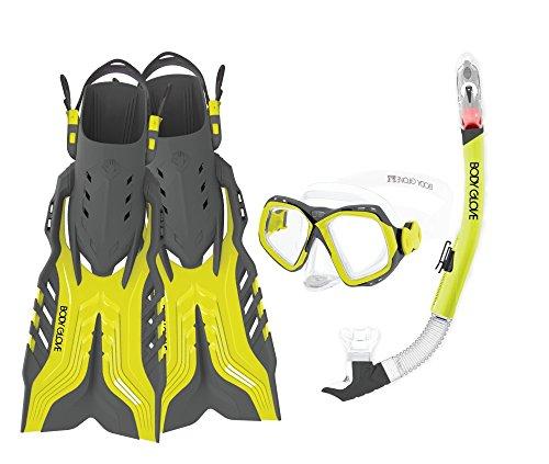 シュノーケリング マリンスポーツ 17039PSET-L/XL-CITGRY Body Glove Aquatic Fiji Mask Snorkel and Fins Set, Large/X-Large, Citrus/Greyシュノーケリング マリンスポーツ 17039PSET-L/XL-CITGRY