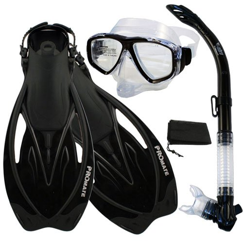 【正規品】 シュノーケリング マリンスポーツ Black, PROMATE マリンスポーツ Snorkeling Semi-Dry Snorkel Purge Mask Fins Purge Scuba Dive Gear Set, Black, ML/XLシュノーケリング マリンスポーツ, 和束町:28cd0336 --- konecti.dominiotemporario.com
