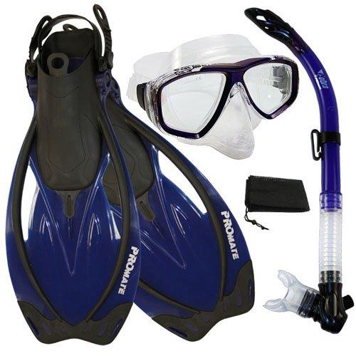 シュノーケリング マリンスポーツ PROMATE Snorkeling Semi-Dry Snorkel Purge Mask Fins Scuba Dive Gear Set, Blue, ML/XLシュノーケリング マリンスポーツ