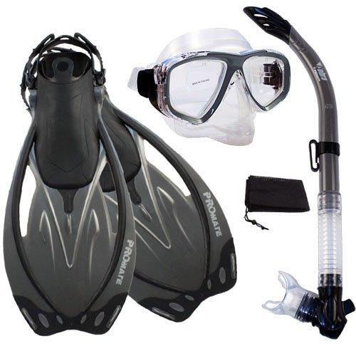 【メール便無料】 シュノーケリング マリンスポーツ Titanium, PROMATE Snorkeling Semi-Dry Snorkel Semi-Dry Purge Mask Mask Fins Scuba Dive Gear Set, Titanium, ML/XLシュノーケリング マリンスポーツ, デイリーグッズショップ:6c173ff5 --- clftranspo.dominiotemporario.com