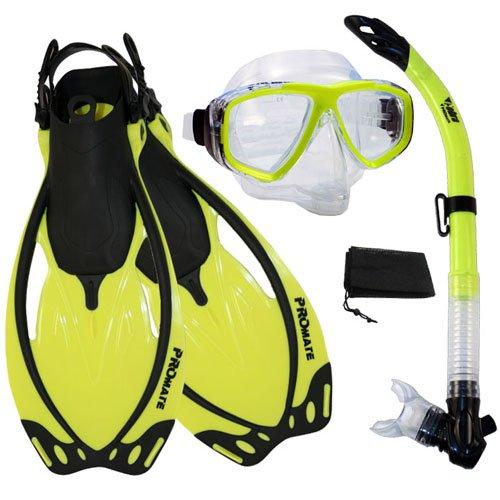 シュノーケリング マリンスポーツ PROMATE Snorkeling Semi-Dry Snorkel Purge Mask Fins Scuba Dive Gear Set, Yellow, ML/XLシュノーケリング マリンスポーツ