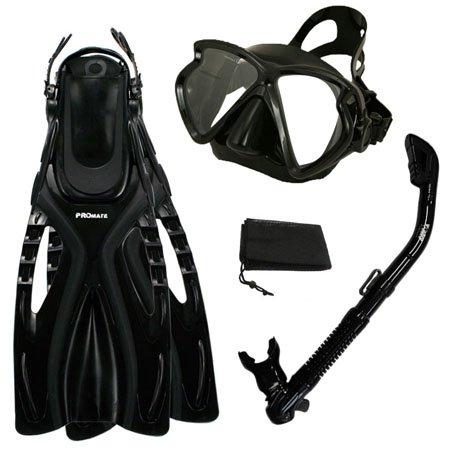 シュノーケリング マリンスポーツ PROMATE Snorkeling Fins Matrix Mask Dry Snorkel Set w/ Mesh Bag, All Black, ML/XLシュノーケリング マリンスポーツ