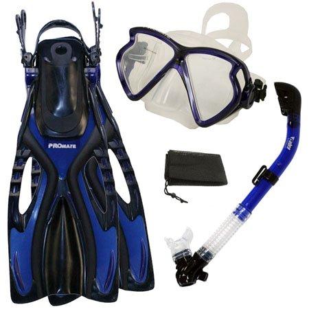 シュノーケリング マリンスポーツ PROMATE Snorkeling Fins Matrix Mask Dry Snorkel Set, Blue, S/Mシュノーケリング マリンスポーツ