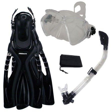 シュノーケリング マリンスポーツ 【送料無料】PROMATE Snorkeling Fins Matrix Mask Dry Snorkel Set w/ Mesh Bag, ClrWBk, S/Mシュノーケリング マリンスポーツ