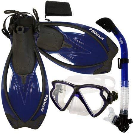 シュノーケリング マリンスポーツ PROMATE Snorkeling Matrix Mask Dry Snorkel Fins Mesh Bag Set, Blue, ML/XLシュノーケリング マリンスポーツ
