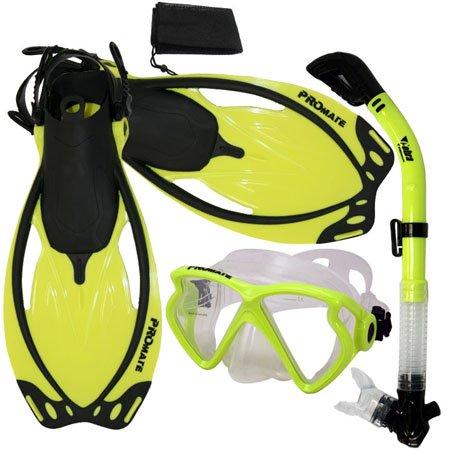 シュノーケリング マリンスポーツ PROMATE Snorkeling Matrix Mask Dry Snorkel Fins Mesh Bag Set, Yellow, S/Mシュノーケリング マリンスポーツ