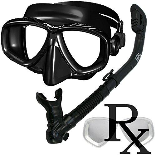 シュノーケリング マリンスポーツ Prescription Purge Mask Dry Snorkel Snorkeling Scuba Diving Combo Set, BlackAllシュノーケリング マリンスポーツ