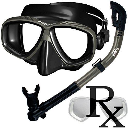 シュノーケリング マリンスポーツ Prescription Purge Mask Dry Snorkel Snorkeling Scuba Diving Combo Set, Black/Titaniumシュノーケリング マリンスポーツ