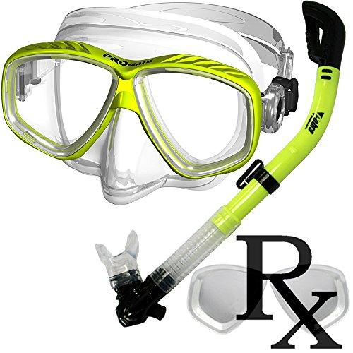 シュノーケリング マリンスポーツ 【送料無料】Prescription Purge Mask Dry Snorkel Snorkeling Scuba Diving Combo Set, Yellowシュノーケリング マリンスポーツ