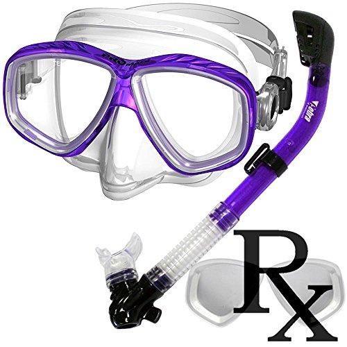 シュノーケリング マリンスポーツ Prescription Purge Mask Dry Snorkel Snorkeling Scuba Diving Combo Set, Purpleシュノーケリング マリンスポーツ