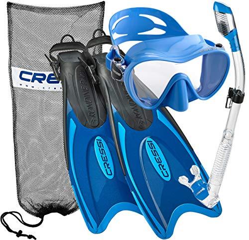 シュノーケリング マリンスポーツ Cressi Palau Long Frameless Mask Fin Snorkel Set BL LXLシュノーケリング マリンスポーツ