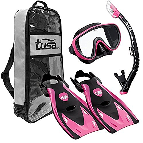 シュノーケリング マリンスポーツ UP-1521QB-HP-S TUSA Sport Adult Black Series Serene Mask, Dry Snorkel, and Fins Travel Set, Black/Hot Pink, Smallシュノーケリング マリンスポーツ UP-1521QB-HP-S