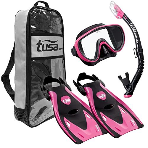 シュノーケリング マリンスポーツ UP-1521QB-HP-M 【送料無料】TUSA Sport Adult Black Series Serene Mask, Dry Snorkel, and Fin Travel Set, Black/Hot Pink, Mediumシュノーケリング マリンスポーツ UP-1521QB-HP-M