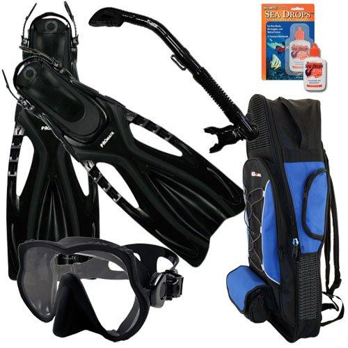 シュノーケリング マリンスポーツ Promate Snorkeling Scuba Dive Frameless Mask Fins Dry Snorkel Gear bag Set, AB, SMシュノーケリング マリンスポーツ