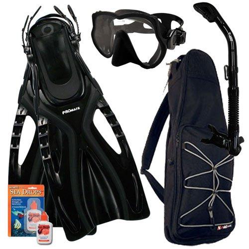シュノーケリング マリンスポーツ Promate Snorkeling Scuba Dive Frameless Mask Fins Dry Snorkel Gear bag Set, Bk/Bk, S/M(5-8)シュノーケリング マリンスポーツ