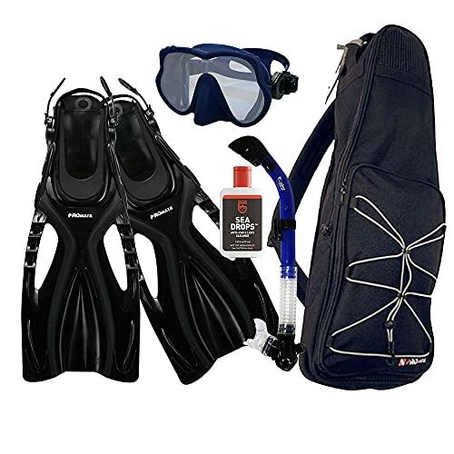 シュノーケリング マリンスポーツ Promate Snorkeling Scuba Dive Frameless Mask Fins Dry Snorkel Gear bag Set, Blue, S/M(5-8)シュノーケリング マリンスポーツ
