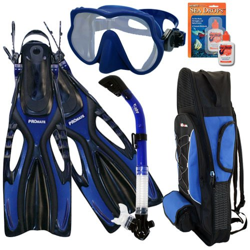 シュノーケリング マリンスポーツ Promate Snorkeling Scuba Dive Frameless Mask Fins Dry Snorkel Gear bag Set, Blue, SMシュノーケリング マリンスポーツ