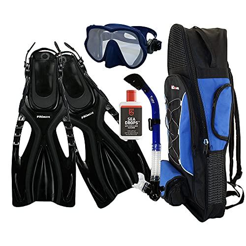シュノーケリング マリンスポーツ Promate Snorkeling Scuba Dive Frameless Mask Fins Dry Snorkel Gear bag Set, Blue, MLXLシュノーケリング マリンスポーツ