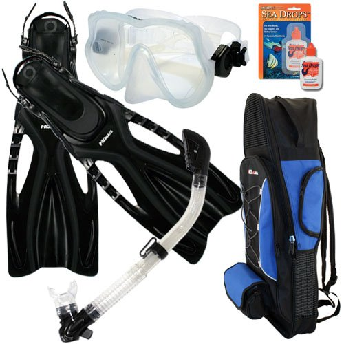 シュノーケリング マリンスポーツ Promate Snorkeling Scuba Dive Frameless Mask Fins Dry Snorkel Gear bag Set, Clear w/Black, S/M(5-8)シュノーケリング マリンスポーツ