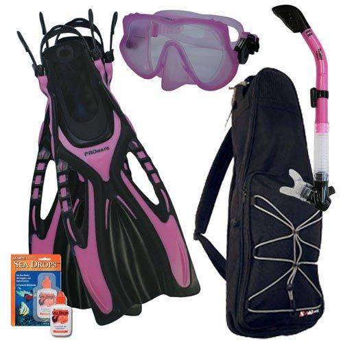 シュノーケリング マリンスポーツ Promate Snorkeling Scuba Dive Frameless Mask Fins Dry Snorkel Gear bag Set, Pink, ML/XL(9-13)シュノーケリング マリンスポーツ