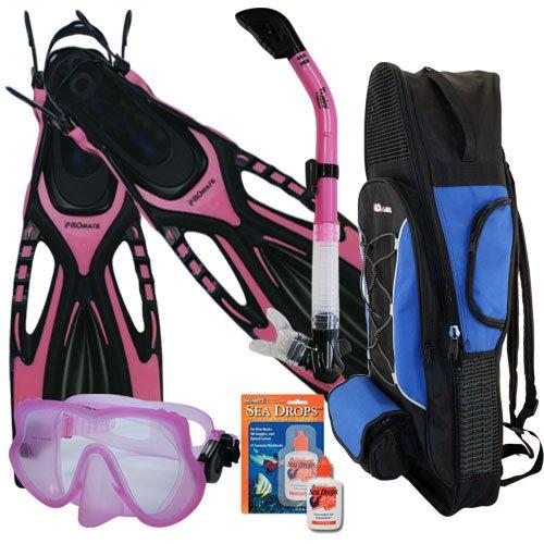 シュノーケリング マリンスポーツ 夏のアクティビティ特集 Promate Snorkeling Scuba Dive Frameless Mask Fins Dry Snorkel Gear bag Set, Pink, SMシュノーケリング マリンスポーツ 夏のアクティビティ特集