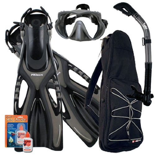 シュノーケリング マリンスポーツ Promate Snorkeling Scuba Dive Frameless Mask Fins Dry Snorkel Gear bag Set, TiBk, S/Mシュノーケリング マリンスポーツ