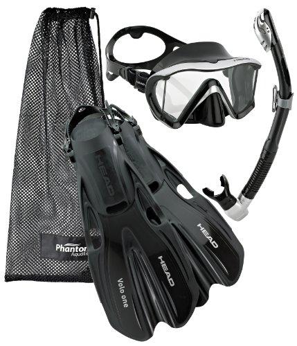 シュノーケリング マリンスポーツ Head Manta Mask Fin Snorkel Set, Black Silver - MDシュノーケリング マリンスポーツ