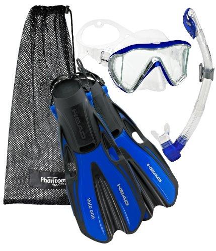 シュノーケリング マリンスポーツ Head Manta Mask Fin Snorkel Set, Metallic Blue - LGシュノーケリング マリンスポーツ