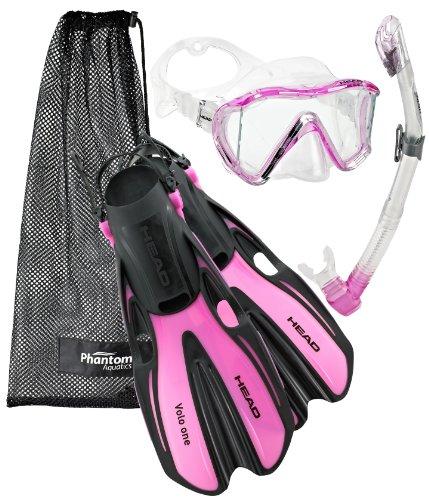 シュノーケリング マリンスポーツ Head Manta Mask Fin Snorkel Set, Pink White - SMシュノーケリング マリンスポーツ