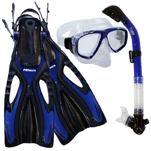 シュノーケリング マリンスポーツ PROMATE Snorkeling Scuba Diving PURGE Mask Snorkel Fins Gear Set, TransBlue, SMシュノーケリング マリンスポーツ