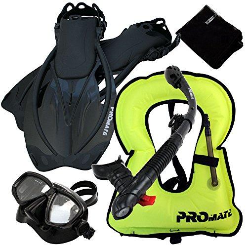シュノーケリング マリンスポーツ Promate 759001-AB-MLXL Snorkeling Vest Mask Snorkel Fins Combo Setシュノーケリング マリンスポーツ