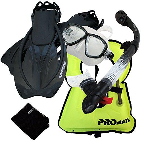 シュノーケリング マリンスポーツ Promate 759001-Bk-MLXL Snorkeling Vest Mask Snorkel Fins Combo Setシュノーケリング マリンスポーツ
